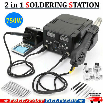 2in1 Soldering Desoldering Digital Rework Station Hot Air Iron Smd Welder 750w