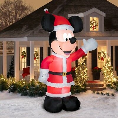 11' Inflatable Mickey Mouse in Santa Suit Air-blown Outdoor Christmas Decoration