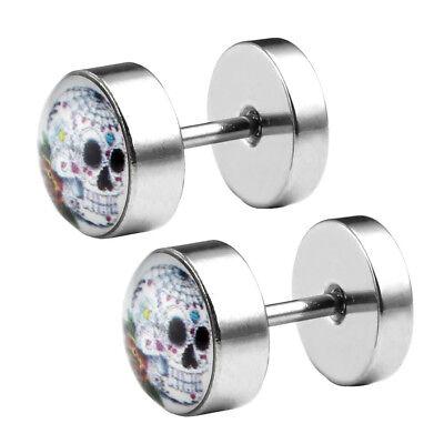 Sugar Skull Earrings (Stainless Steel White Sugar Skull Fake Cheater Ear Plugs Illusion Earring)
