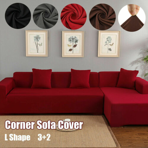 2Pcs 3Seater Sofa Covers L Shape Fabric Stretch Slipcovers for Sectional Corner