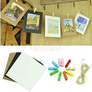 10pcs paper photo diy wall art picture hanging album frame for Picture frame with clips diy