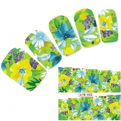 Tattoo Nail Art Flower Bunt Aufkleber Blumen Colorful Water Decall Neu! ()