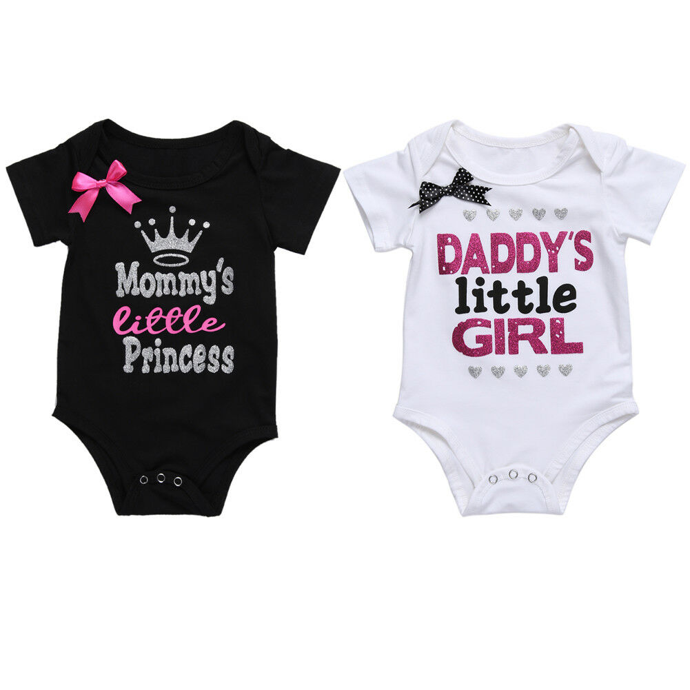04c5e368b4967 Details about Newborn Baby Twin Little Girl Mom Dad Princess Bow Funny  Matching Romper Clothes