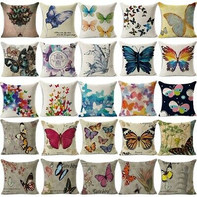 Butterfly Cushion Cover Pattern Decorative Pillow Case Linen Square -