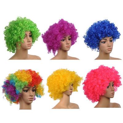 Party Disco Afro Clown Haare Fußballfan Erwachsene Halloween Kostüm Perücke