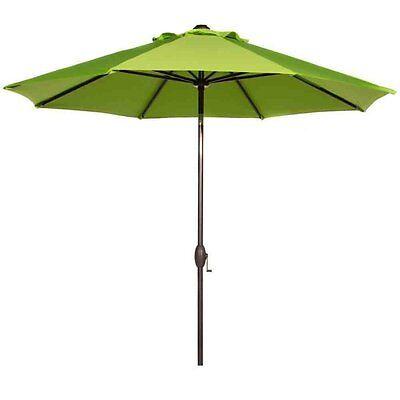 9 Ft Outdoor Patio Umbrella Market Table Umbrella with Auto Tilt and Crank,Green