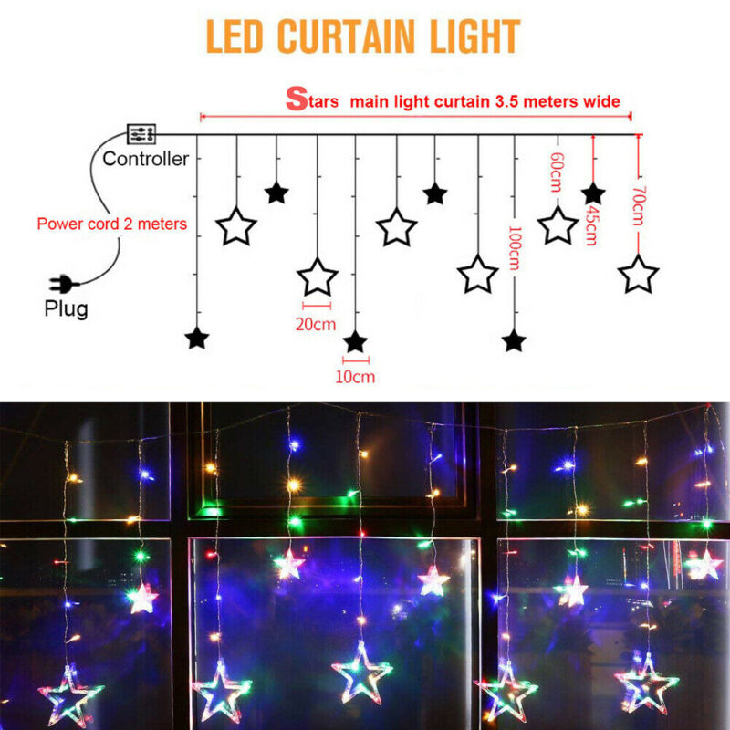138LED+Twinkling+Star+Curtain+Window+Fairy+String+Lights+Party+Wedding+Colorful