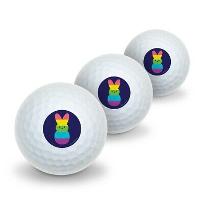 Rainbow Striped Bunny Peep Novelty Golf Balls 3 Pack (Bunny Balls)