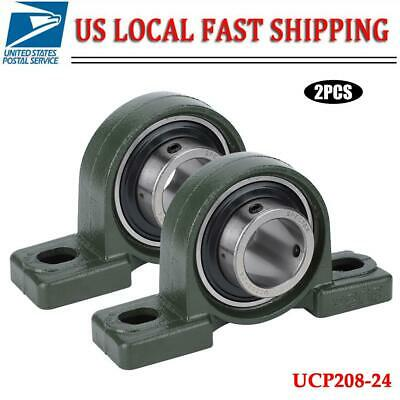 2 Pcs Ucp208-24 Mounted Ball Bearing Pillow Block 1-12 Bore Self Aligning Cast