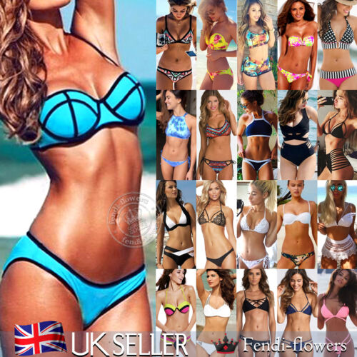 UK Sexy Womens Push Up Brazilian Padded Bra Bikini Set Beach Swimwear Swimsuit