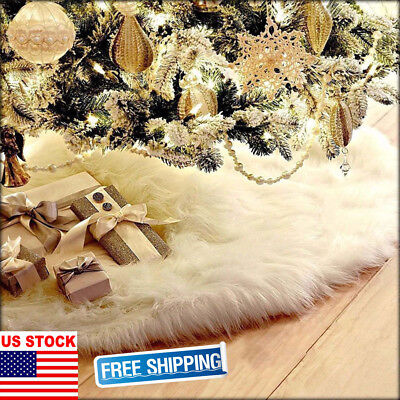 USA Long Plush Snow Flake Christmas Tree Skirt Base Floor Mat Cover Party Decors](Snow Flake Decorations)