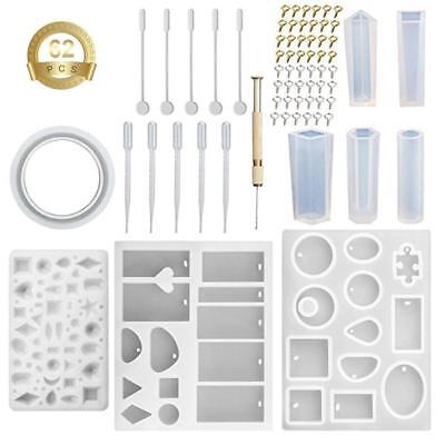 62pc Silicone Mould Mold DIY Resin Round Necklace jewelry Pendant Making tool