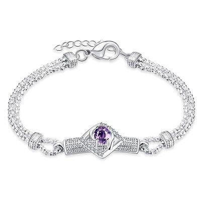 Womens 925 Sterling Silver Prong Set Purple CZ Crystal Chain Bracelet #B422
