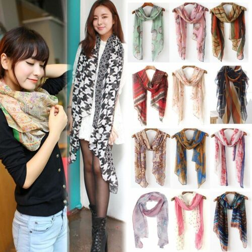 Scarf - Fashion New Lady Women's Long Soft Wrap Lady Shawl Cotton Chiffon Scarf Scarves