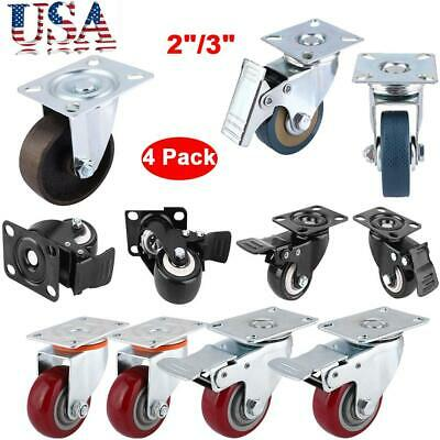 Heavy Duty 4 Pack Caster Wheels Swivel Plate Total Lock Brake Polyurethane 23