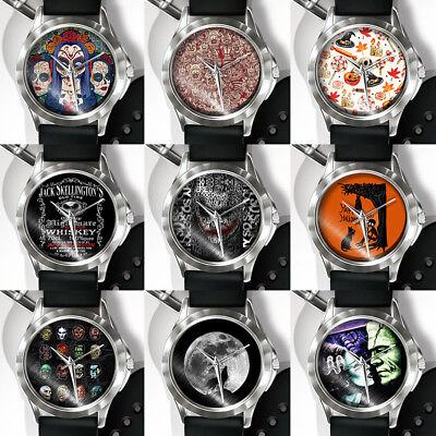 Halloween Skull Horror Punk PVC Band Quartz Analog Display Wrist Watch Little](Horror Punk Halloween)