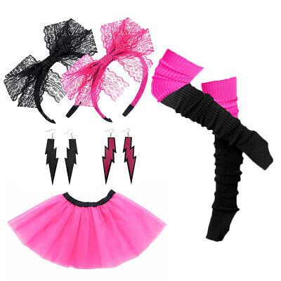 80s Dance Costumes (Retro 80s Tutu Skirt Lace Headband Leg Warmers Earrings Dance Hen Stag)