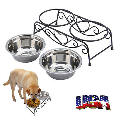 Double Bowl Dog Cat Feeder Elevated Raised Stand Feeding Food Water Pet Dish US