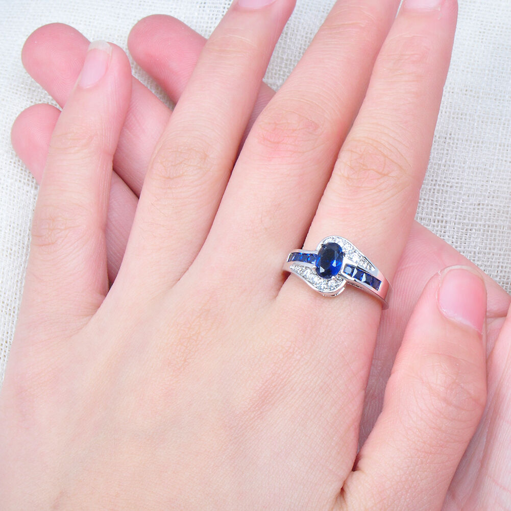 Oval Blue Sapphire Wedding Ring 10kt White Gold Filled Jewelry Size ...