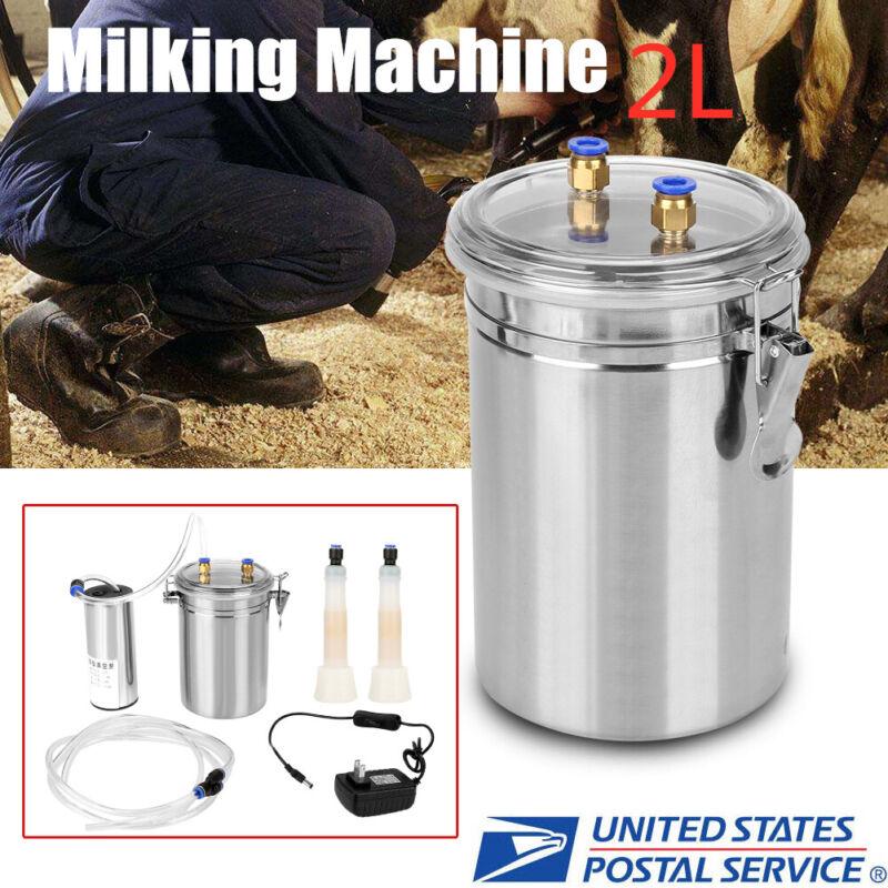 1/2 Gal Portable Vacuum Pump Electric Milking Machine For Farm Cow Sheep Goat