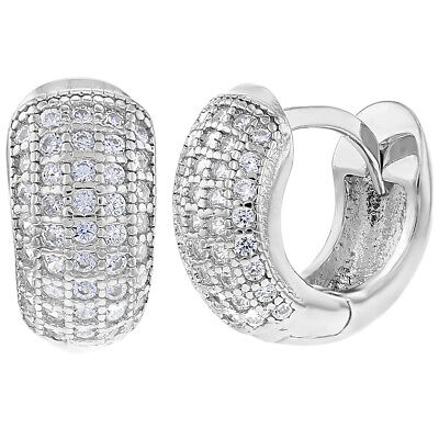 925 Sterling Silver Clear CZ Small Wide Huggie Hoop Earrings 0.31""