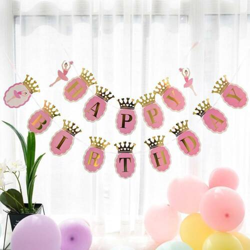 Crown Flash Bunting Happy Birthday Banner Baby Shower Kids ...