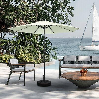 Round Beige Garden Parasol Umbrella Sun Shade Outdoor Patio Crank Tilt 2.5 M