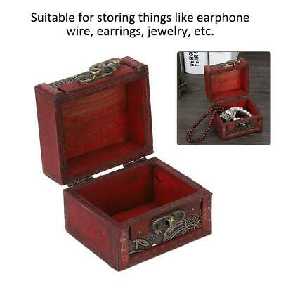 Vintage Wooden Treasure Chest Wood Jewellery Necklace Storage Organiser Box Case - Wooden Treasure Chest Box