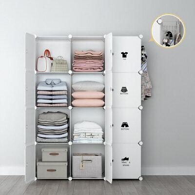 White Storage Wardrobe Closet - Portable Wardrobe Storage Closet Plastic Armoire, White, 18