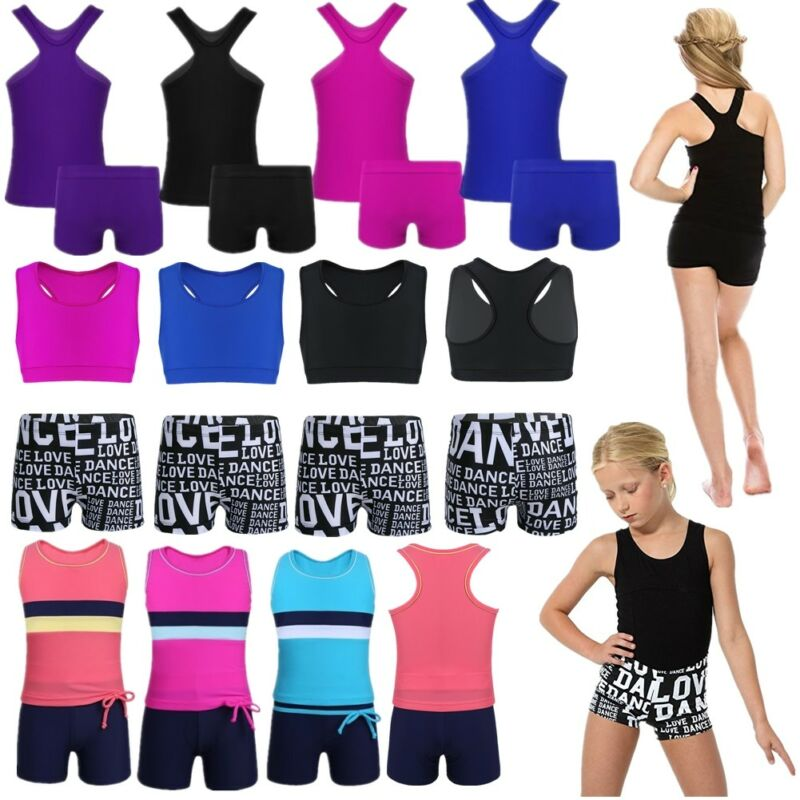 Girls Kid Dance Outfit Ballet Jazz Costume Gym Tank Tops+Bottoms Dancing Clothes