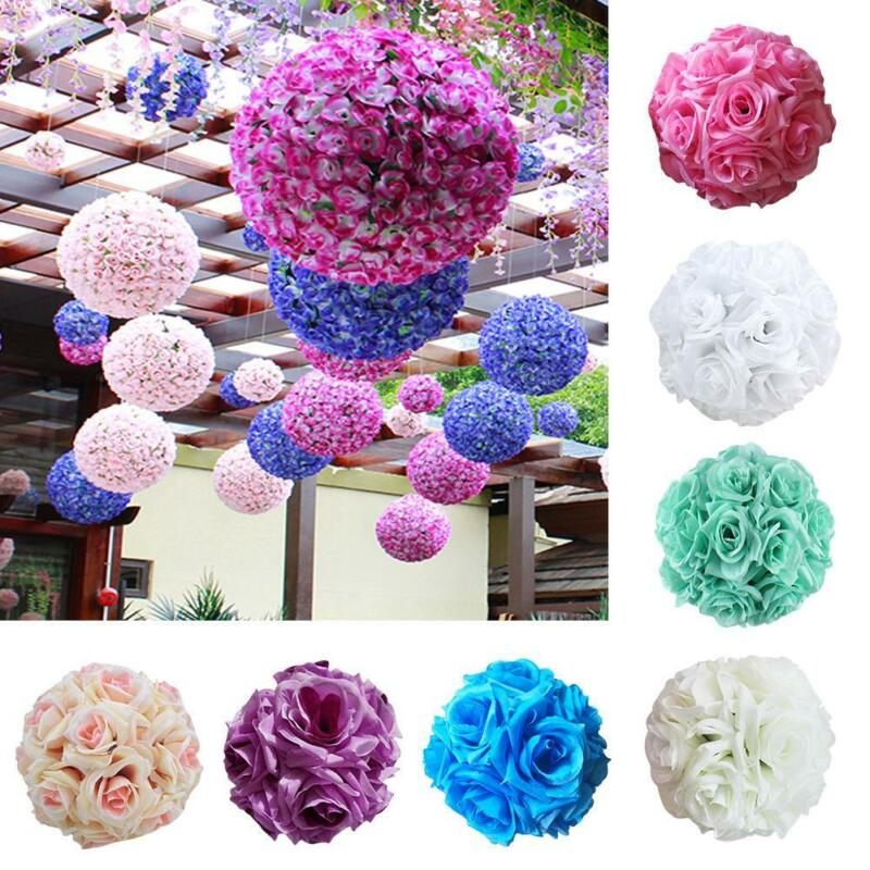 Artificial Silk Cloth Rose Flower Ball Pomander Wedding Party Bouquet Decoration