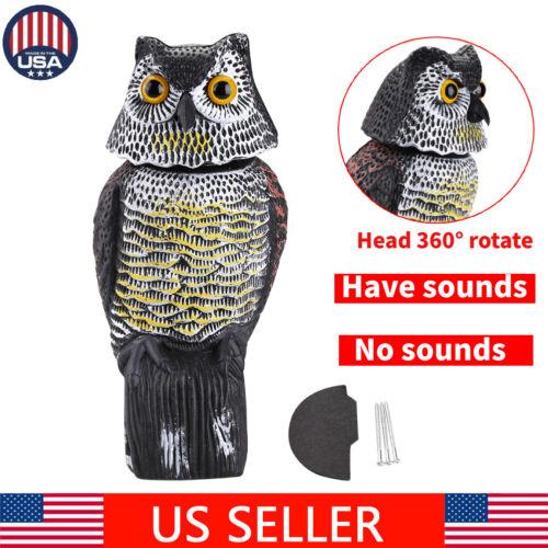 Large Realistic Owl Decoy Rotating Repellent Pest Bird Contr