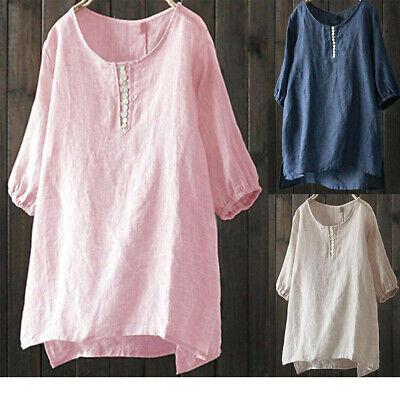 US Women Cotton Linen Summer Baggy Tunic Tops Shirt Short Sleeve Blouse Clothes