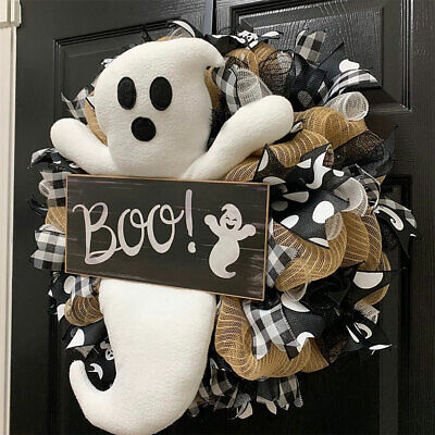 Halloween Spooky Ghost Wreath Cute White Ghost Garland Ornaments Door Decoration