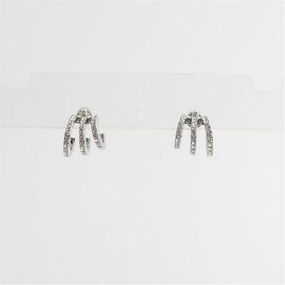 Michael Kors Modern Brilliance Crystal Pave Huggie Earrings Silver Tone
