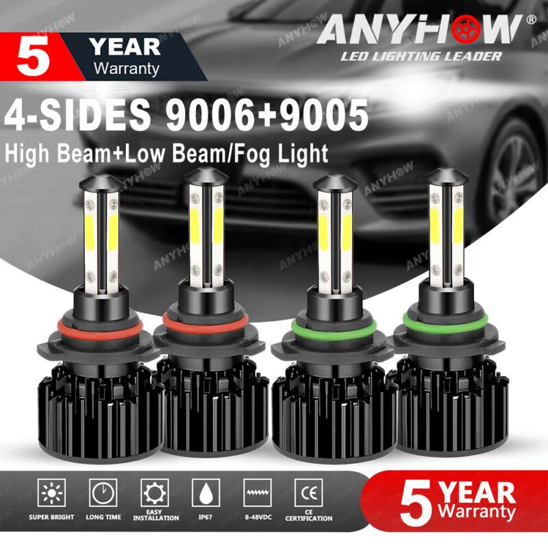 4SIDE 9005+9006 LED Combo Headlight Kit CREE COB 240W Light Bulbs High &Low Beam