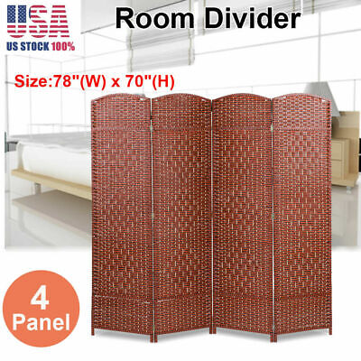 4 Panel Room Divider Privacy Folding Screen Durable Movable