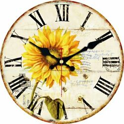 Farmhouse Wall Clock Big Non Ticking Silent Sunflower Rustic Large Huge Quiet XL
