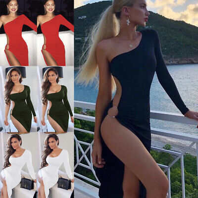 Sexy Women Sleeveless High Slit Long Maxi Dress Ladies Club Party Bodycon Dress