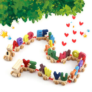 Wooden Train Set Alphabet Wood Letters with Wheels Kids Toddler Educational Toys