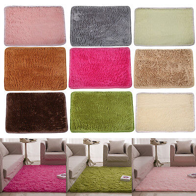 Fluffy Rugs Anti-Skid Shaggy Area Rug Dining Room Home Bedroom ...