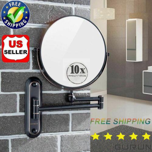 GURUN 8 Inch 10X Magnifying Makeup Mirror Wall Mount Dual Si
