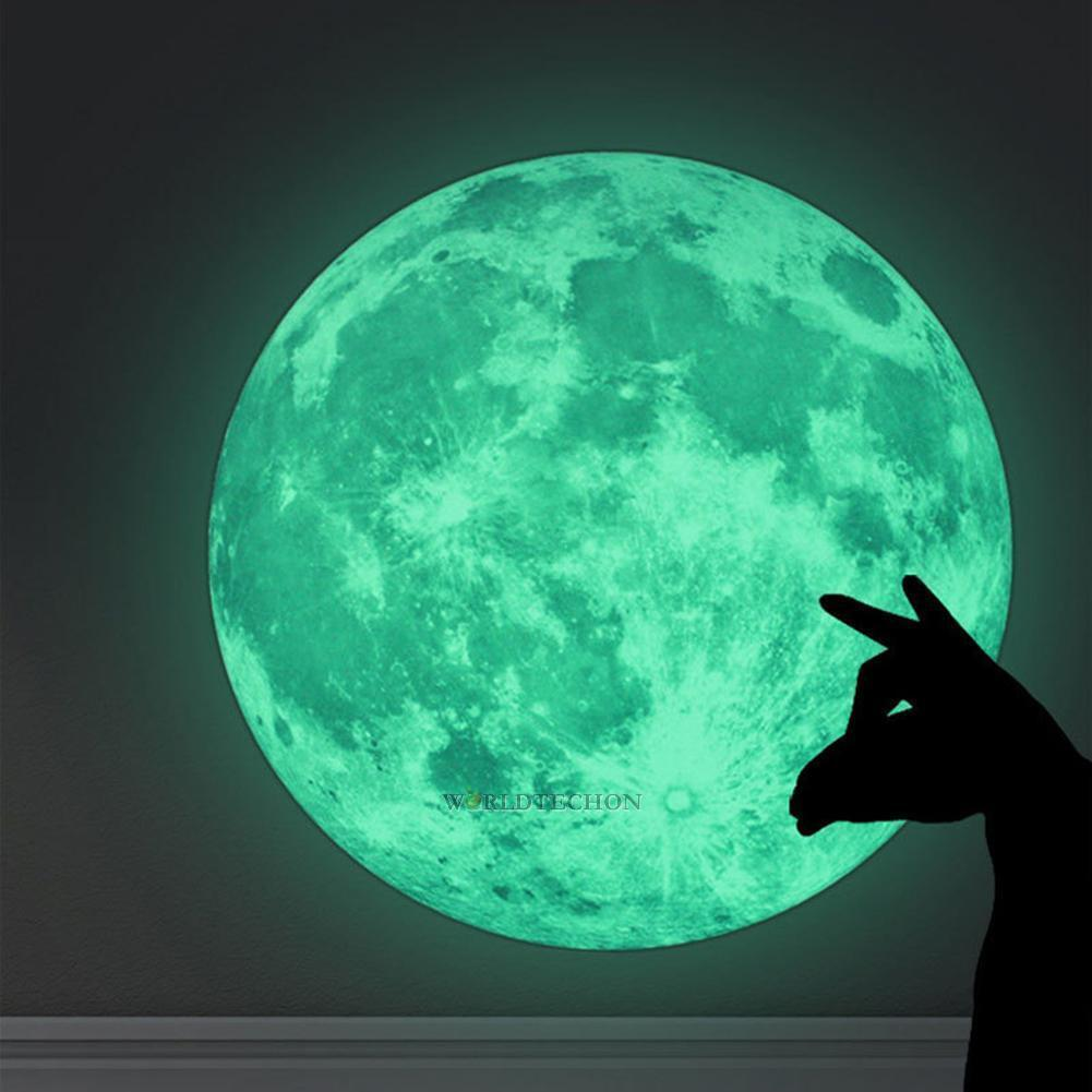 Home Decoration - 30cm Luminous Glow in the Dark Moon Wall Sticker Home Art Decor Kids Room Decal