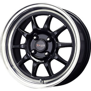1 New 15X7 40 Offset  4x100 DRAG DR-16 Black  Wheel/Rim