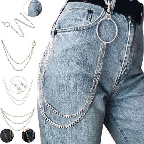 1-3 Layer Rock Punk  Jeans Waist Chain Biker Silver Round  C