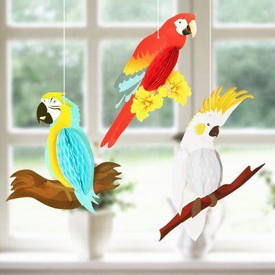 3 pcs Tropical bird parrot summer party Hawaiian beach party hanging deco  - Beach Party Decor