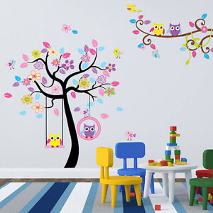wandtattoo wandsticker tiere baum spielzimmer bild eule. Black Bedroom Furniture Sets. Home Design Ideas