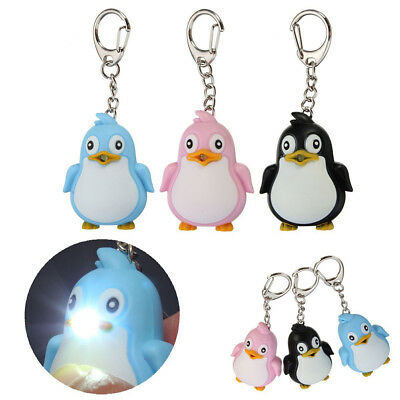 Cute Animal Penguin LED Light with Sound Key Chain Key Ring Torch Decor Gift - Penguin Keychain