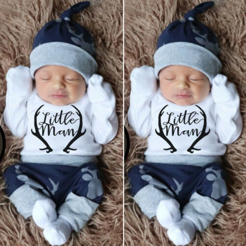 US Newborn Baby Boy Clothes Little Man Romper Tops+Deer Pant