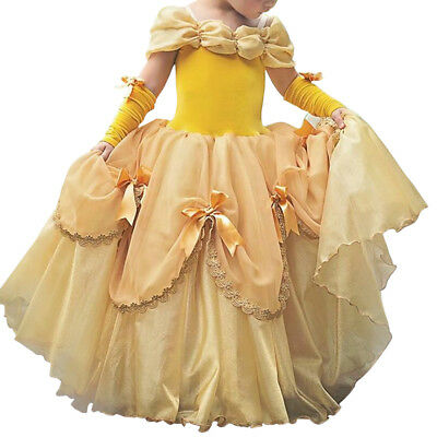 Princess Belle Costume Fancy Beauty and the Beast Dress up for Kid Girl - Belle Kostüm Kid